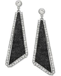 Material Girl - Silvertone Black Glitter and Crystal Rhinestone Triangle Drop Earrings - Lyst