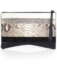 Narciso Rodriguez Multi-Seam Mixed-Media Clutch - Lyst