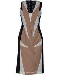 Paola Frani Sleeveless V-Neckline Brown Tube Dress - Lyst