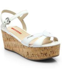 Prada Patent Leather Cork Platform Sandals - Lyst