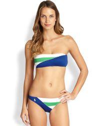 Polo Ralph Lauren Colorblock Bandeau Bikini Top - Blue