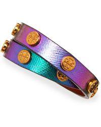 Tory Burch Logostudded Snakeembossed Wrap Bracelet Greeniridescent - Lyst