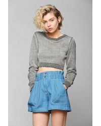 Urban Outfitters -  Chambray Paper Bag Shorts - Lyst