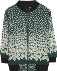 Anna Sui Letters Printed Georgette Bomber Jacket - Green