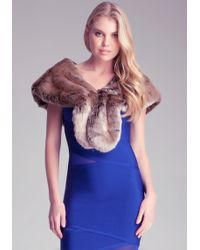 Bebe Faux Fur Collar with Brooch - Pink