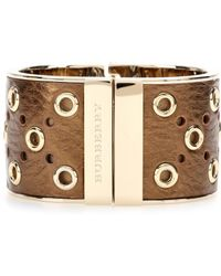 Burberry Gold Leathercoated Cuff - Lyst