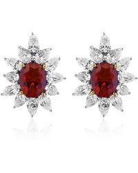 Carat* - Ruby Flower Earrings - Lyst