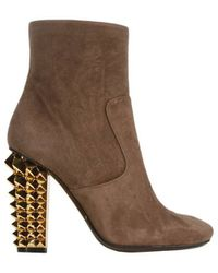 Fendi Ankle Boots Polifonia Heels 105 Suede Studs - Lyst