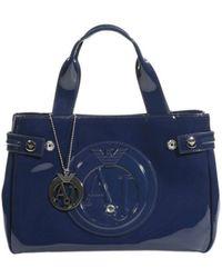 Armani Jeans Handbag Patent Leather Classic Mini Shopping Bag + Rh 29X20X10 Cm - Lyst
