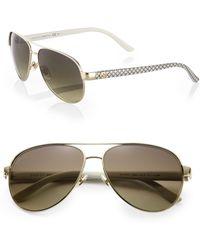 Gucci Metal Aviator Glitter Sunglasses - Lyst