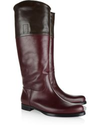Jil Sander Twotone Leather Knee Boots - Lyst