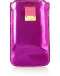 Jimmy Choo - Trent Mirrored-Leather I-Phone 4 Case - Lyst