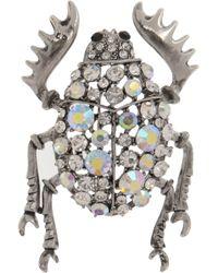 Kenneth Jay Lane Silvertone Crystal Beetle Brooch - Metallic