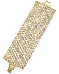 Lauren by Ralph Lauren - Goldtone Crystal Mesh Wide Bracelet - Lyst