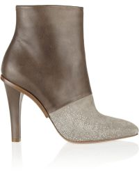 Maison Margiela Embellished Leather and Suede Ankle Boots - Lyst