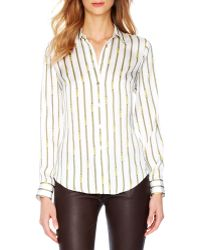 Michael Kors Michael Printed Satin Fitted Blouse - Lyst