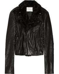 Balmain Shearling trimmed Leather Biker Jacket - Lyst