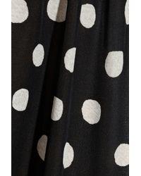 Tucker Polka Dot Silk Crepe De Chine Trousers - Black