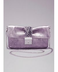 Bebe Chain Clutch Bag - Gray