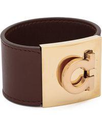 Ferragamo - Wide Gancio Cuff Bracelet - Acero - Lyst