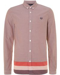 Fred Perry Long Sleeve Check Shirt red - Lyst