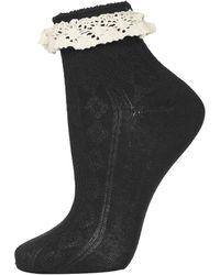 TOPSHOP Black Crochet Lace Trim Ankle Socks