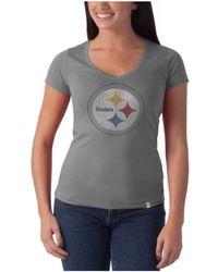 47 Brand Women'S Pittsburgh Steelers Flanker V-Neck T-Shirt - Lyst