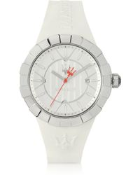 Maserati - Tridente 3h Silver Dial White Rubber Strap Womens Watch - Lyst