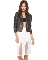 Re:named - Faux Leather Moto Jacket - White - Lyst