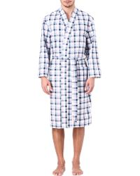 Naturally Port Check Dressing Gown - White