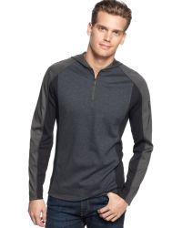 Calvin Klein Long Sleeve Interlock Ribbed Hoodie Shirt - Lyst