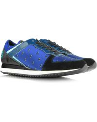 KENZO - New Helmut Light Blue Fabric and Leather Sneaker - Lyst
