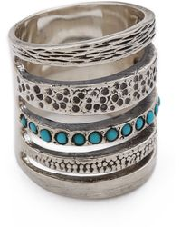 Pamela Love Single Cage Ring With Turquoise - Silver/Turquoise - Green