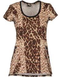 Puma Short Sleeve T-Shirt brown - Lyst
