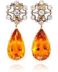 Simon Teakle - Antique 2 in 1 Citrine and Diamond Earrings - Lyst