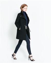 Zara Coat with Wrap Around Collar - Lyst