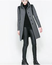 Zara Combined Wool Coat - Lyst