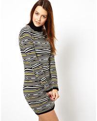 Asos Knitted Bodycon Dress in Abstract Animal - Lyst