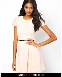 Asos Skater Dress with Short Sleeves and Belt - Lyst