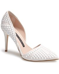 French Connection 'Ellis' Studded Nubuck D'Orsay Pump white - Lyst