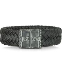 Just Cavalli - Rude Stainless Steel and Leather Mens Bracelet - Lyst
