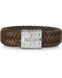 Just Cavalli - Rude Stainless Steel And Leather Men'S Bracelet - Lyst