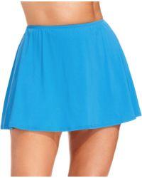 Michael Kors Michael Plus Size Solid Swim Skirt - Blue