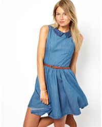 Oasis Denim Skater Dress with Lace Insert - Lyst