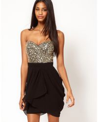 Opulence England Lipsy Vip Sequin Bust Dress - Black
