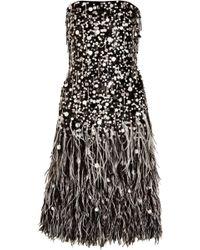 Oscar de la Renta Feather and Pailetteembellished Silkorganza Dress - Lyst