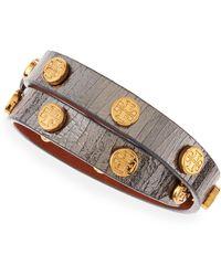 Tory Burch Logostudded Snakeembossed Wrap Bracelet Gunmetal - Lyst