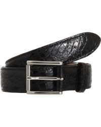 Barneys New York Black Alligator Belt - Lyst