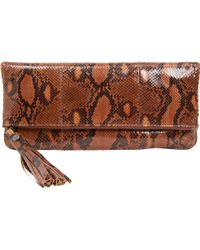 Barneys New York Python Tassel Clutch brown - Lyst