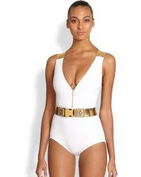 Michael Kors Onepiece Belted Swimsuit - Lyst